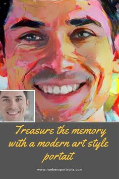 Let our experienced, skilled artists paint your portrait in Francoise Nielly's modern art style. Vibrant, colors, thick textured paint on cotton canvas – printed portraits look flat and dull in comparison. Order your heirloom portrait today and you will treasure it always.