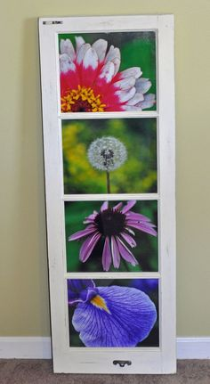 DIY art – upcycled windows frames / I doubt I could find an old window like this, but I might be able to find a frame and I have a calendar full of flowers to use.