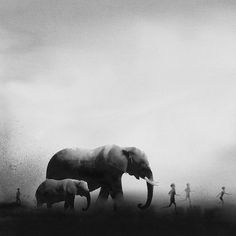 monochrome watercolors by Elicia Edijanto, The Indonesian artist and her mysterious and misty atmospheres, featuring children and animals into soft and poetic compositions.