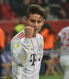 James Rodriguez of Muenchen celebrates after scoring his team`s third goal during the Bundesliga match between Bayer 04 Leverkusen and FC Bayern Muenchen at BayArena on January 12, 2018 in Leverkusen, Germany.