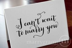 Wedding Card to Your Bride or Groom - I Can't Wait to Marry You - Wedding Day Card, Goes with Gift for Groom. $4.00, via Etsy.