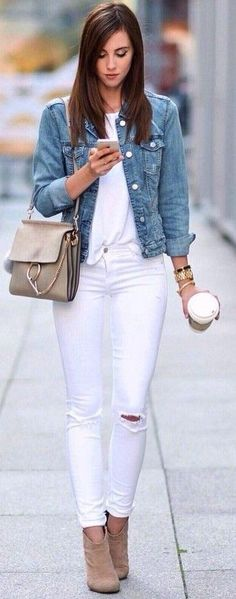 #Fashion Summer Style : #summer #trending #outfits | Denim + All White