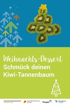 #weihnachten #kiwi #dessert #znueni #kinder #advent #obst Lasse dein Kind einen Kiwi-Tannenbaum bauen und schmücken. Einfache Idee mit Anleitungsvideo. Mango, Kiwi, Advent, Dessert, Kid Cooking, Birthday Cakes, Fruit And Veg, Wood Carvings, Christmas Tree