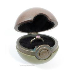 Pokemon Go inspired engagement ring box. It was printed in metal filled filaments from Colorfabb: Bronzefill, Copperfill, Brassfill, patinated and weathered metal look. Pokemon Ring, Pokemon Go, Engagement Ring Holders, Ring Boxes, Statue, Metal, Wedding Stuff, Art, Ideas