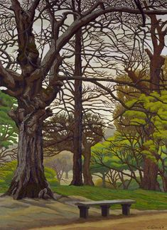 'Hampstead Heath - Spring', oil paint on canvas by Charles Ginner (1932). #PaintedLondon