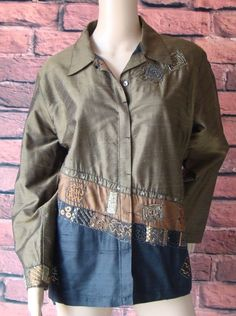 Chico's Olive Green Dupioni/Shantung Embroidered Sequin Beaded Silk Jacket 2 (M) #Chicos #BasicJacket