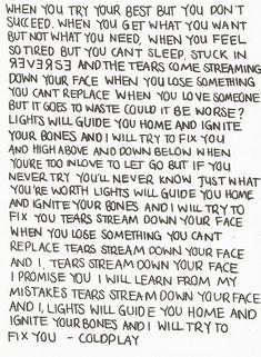 Fix you lyrics ! by coldplay