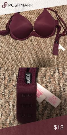 Victoria Secret Pink push-up bra. Worn for maybe about 5 months. Very trendy burgundy color! Size 32 C. Standard push-up. PINK Victoria's Secret Intimates & Sleepwear Bras