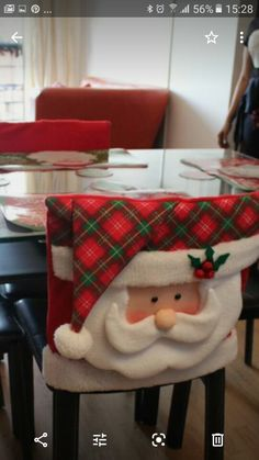 Xmas Crafts, Cute Crafts, Christmas Projects, Diy And Crafts, Christmas Chair Covers, Christmas Decorations, Holiday Decor, Christmas Stockings, Merry Christmas