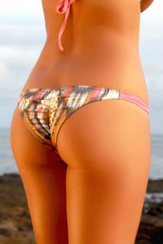 Coral Ikat cheeky bikini bottoms by Kaikini! Love kaikini bikinis. Hand made in Hawaii! Mexico trip:)