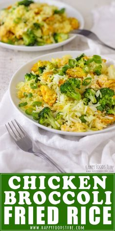This easy Chicken Broccoli Fried Rice recipe makes the perfect weeknight dinner or quick lunch. Leftover rice, turmeric seasoned chicken pieces, broccoli and egg are turned into a delicious and easy to make meal. Broccoli Fried Rice, Chicken Broccoli, Rice Dishes, Food Dishes, Main Dishes, Broccoli Recipes, Chicken Recipes, Seasoned Rice Recipes, Asian Recipes
