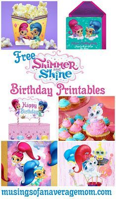 Everything you need for a Shimmer and Shine birthday party! Including free printable invitations, decorations, food labels, cupcake toppers, party games and more! Fun Party Themes, Party Activities, Birthday Party Decorations, Party Games, Party Ideas, Shimmer And Shine Decorations, Shimmer And Shine Cake, 6th Birthday Parties, 4th Birthday