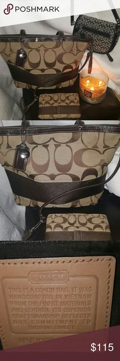 Coach Purse wallet and small crossover Authentic BROWN & Beige -Authentic Coach Signature stripped  tote bag with matching wallet  .Worn but still has a lot of love in it?? BLACK-Authentic small Coach crossover bag that's great for nights out . Little zipper front for license and cards,mirror inside on flap,and detachable strap. LEATHER AND JACQUARD  *May have signs of wear**** Coach Bags