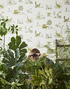 What little boy wouldn't love that wallpaper? Sian Zeng Yellow Green Dino Boy in jungle / design*sponge Green Wallpaper, Wallpaper Roll, Hanging Wallpaper, Eclectic Wallpaper, Future Wallpaper, Toile Wallpaper, Boys Wallpaper, Print Wallpaper, Indoor Garden