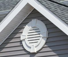 Gable vents are used for attic ventilation. They come in different materials, shapes & sizes & serve the purpose of moving warm, moist air out of your attic Gable Vents, Roof Vents, Exterior Trim, Exterior House Colors, Exterior Paint, House Siding, Facade House, House Exteriors, House Vents