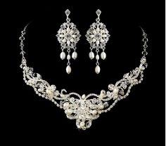 Just stunning! Freshwater Pearl Wedding  Jewelry Set with Chandelier Earrings - Affordable Elegance Bridal -