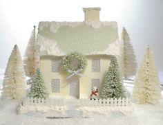 Vintage Style Putz Glitter House Decoration by HolidaySpiritsDecor