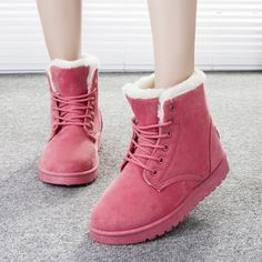 2016 Women Boots Warm Winter Snow Boots Fashion Platform Ankle Boots For Women Shoes Black Botas Femininas