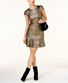 defe8ac1ac5fa3 Michael Michael Kors Petite Metallic Flounce-Hem Dress - Gold P . Anna  Johnson · Bridesmaids Dresses