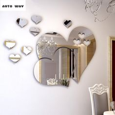 Romantic love Mirror 3D wall stickers Self-adhesive type Dressing mirror Wall decoration Living room dining room Stickers #Affiliate