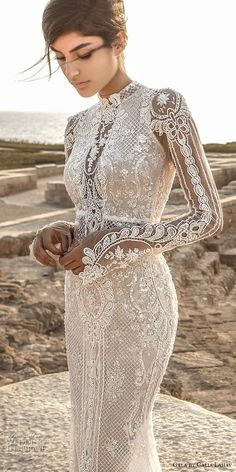 galia lahav gala 2017 bridal long sleeves high neck full embellishment crystals beaded elegant lace sheath wedding dress keyhole back chapel train (805) zv