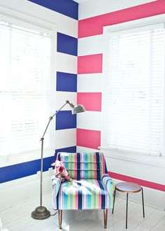 Love it - staggered contrasting striped walls Boy And Girl Shared Room, Boy Girl Room, Shared Rooms, Sister Bedroom, Kids Bedroom, Kids Rooms, Bedroom Ideas, All White Room, White Rooms