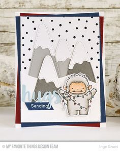 Beast Friends Stamp Set and Die-namics, Snow-Capped Mountains Die-namics, Snowfall - Vertical Die-namics, Snow Drifts Die-namics, Sending Hugs Die-namics Inge Groot  #mftstamps