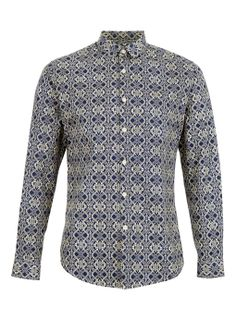 Navy Off-White Baroque Print Long Sleeve Smart Shirt