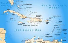 Die Landkarte der Karibik Antigua Und Barbuda, Trinidad Und Tobago, Greater Antilles, Caribbean Sea, Haiti, Honduras, Puerto Rico, Mexico, Caribbean
