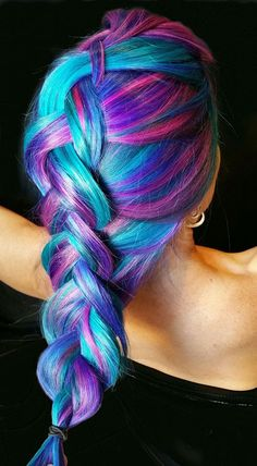 50 Sweeet Cotton Candy Hair Ideas That Are As Aye-pleasing As Can Be - Oil slick and succulent hair - Hair Designs Beautiful Hair Color, Cool Hair Color, Cotton Candy Hair, Unicorn Hair, Dye My Hair, Pretty Hairstyles, Blue Hairstyles, Messy Hairstyles, Hair Looks