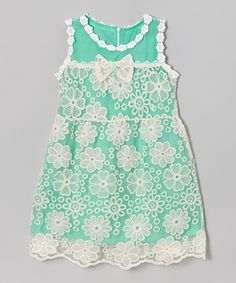 Look what I found on #zulily! Green Floral Lace Dress - Girls #zulilyfinds