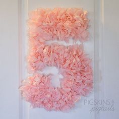 Tissue Paper Number 5, 5th birthday party decor, shabby chic decor for fifth birthday party