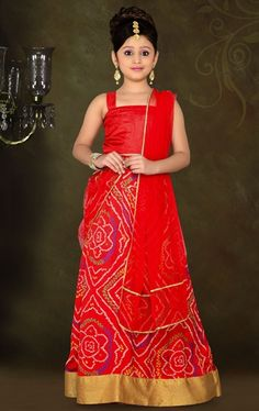 Picture of Aesthetic Red Color Kids Lehenga Choli
