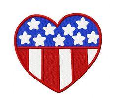 Heart Flag Patriotic Machine Embroidery by JoyfulStitchesEtsy, $3.50