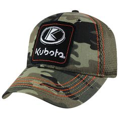 Kubota Frayed Applique Camo Mesh Back Hat Kubota, Camo, Applique, Baseball Hats, Mesh, Closure, Clothing, Baseball Caps, Outfits Fo