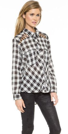 Free People Black & White Long Sleeve Cut Out Shoulder Plaid Shirt Size Small #FreePeople #ButtonDownShirt #Casual