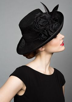Rachel Trevor Morgan Millinery S/S 2015, R1585 Black fine straw side sweep hat with feather broads and roses