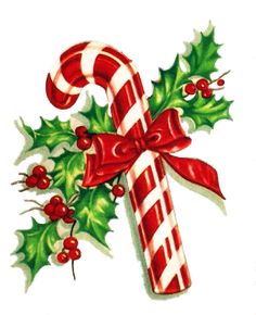 candy cane and holly graphic via my vintage mending christmas rh pinterest com vintage christmas clipart free vintage christmas clip art black and white