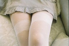 ethereal white sheer tights with lace and polka dot print, cream tights, neutrals Estilo Lolita, Lara Jean, Star Wars, Life Is Strange, Thigh Highs, Body, Thighs, Persona, Baby Boy