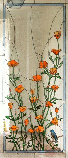 California poppies stained glass, photo only Stained Glass Door, Stained Glass Flowers, Stained Glass Designs, Stained Glass Panels, Stained Glass Projects, Stained Glass Patterns, Leaded Glass, Mosaic Glass, Fused Glass