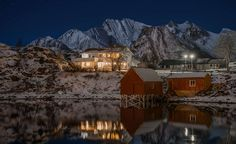 #architecture #building #bungalow #calm waters #cold #construction #dawn #evening #frost #frozen #glacier #house #hut #ice #lake #landscape #lights #mountains #night #outdoors #panorama #reflections #resort #scenic #snow