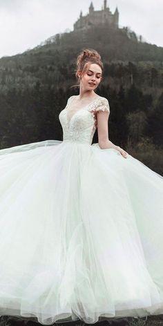 30 Disney Wedding Dresses For Fairy Tale Inspiration ❤ disney wedding dresses a line with cap sleeves lace allure cinderella #weddingforward #wedding #bride