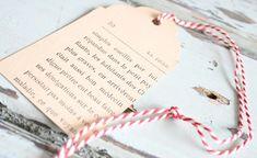 DIY labels knippen van oud boek