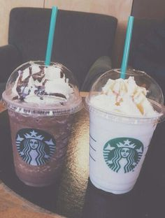 Mine the mocha cookie crumble and Megan's is the vanilla bean frappe