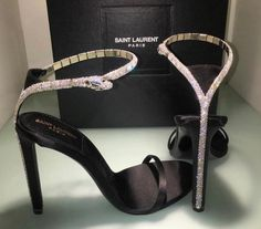 Saint Laurent High Heels with Diamond Snake - Stiletto Shoes High Heels Stiletto, Ysl Heels, Shoes Heels, Stilettos, Ysl Sandals, Silver Sandals, Sandal Heels, Cute Shoes, Me Too Shoes