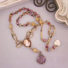 Upcycled Carved Shell Cameo Necklace Gold Filled, Rosary Beads - One Of A Kind by jryendesigns