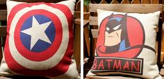Vintage SuperHero Linen Pillow Covers!