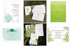 Save up to 35% on green Beach wedding invitations.