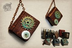 Polymer clay miniature steampunk book pendant with brown cover