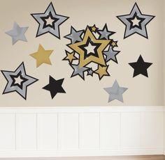 Troquelados de estrellas de varios estilos y tamaños, para una decoración impactante - de www.fiestafacil.com, $5.75 / Star cutouts of different styles and sizes, from www.fiestafacil.com